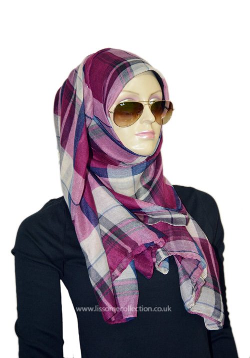 Plaid Print Gorgeous Scarf-Wine