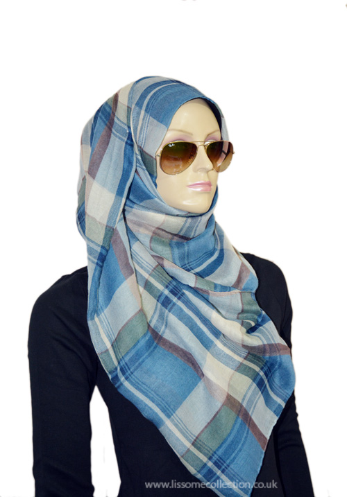 Plaid Print Gorgeous Scarf-Dusty Blue