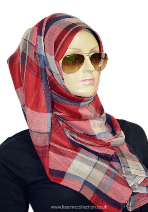 Plaid Print Gorgeous Scarf-Crimson Red