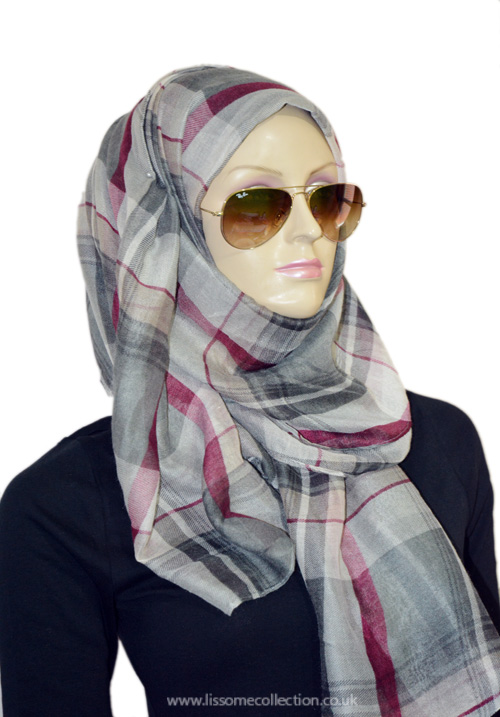 Plaid Print Gorgeous Scarf-Misty Grey