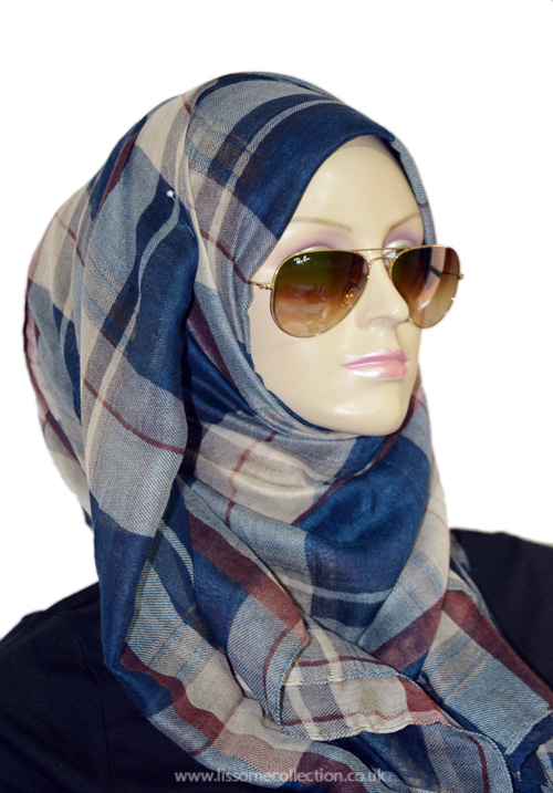 Plaid Print Gorgeous Scarf-Navy
