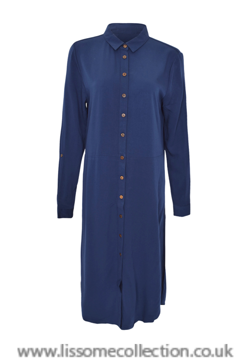 Navy Blue Split Side Maxi Shirt