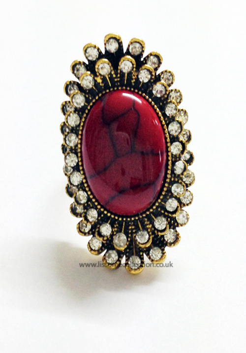 Oval shaped Fashion Ring-Crimson Red