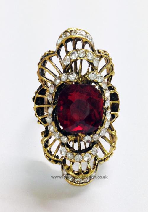 Curved Oversized Fashion Ring-Ruby Red