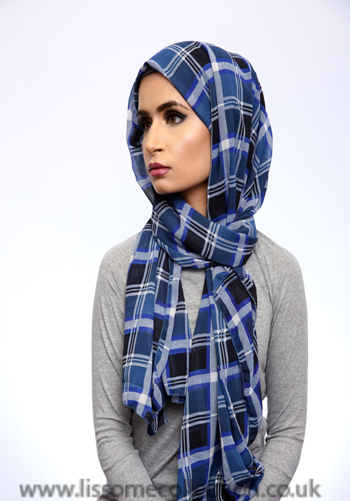 Georgette Check Print Blue Hijab