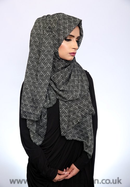 Georgette Ethnic Print Grey