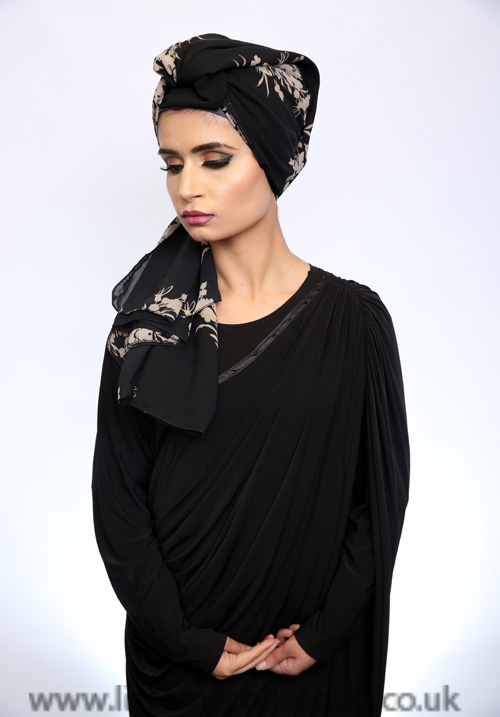 Georgette Flower Print Black Hijab