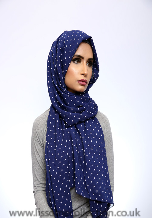 Georgette Polka Dot Blue Hijab