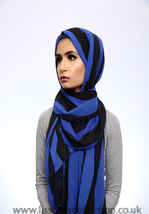 Georgette Stripe Blue Hijab